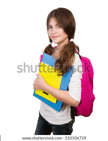 Portrait of cute schoolgirl with bag and books in hands isolated on white background, back to school, start of educational season - stock photo