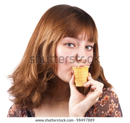 Portrait of cute sensual woman eating ice-cream, close up, isolated on white background