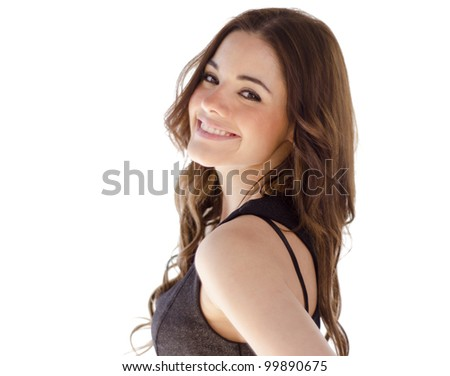 Portrait of cute sexy hispanic woman smiling