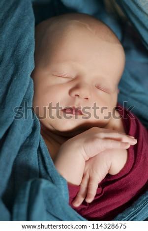 Portrait of cute sleeping newborn girl - stock photo