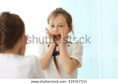 Portrait of cute small girl - stock photo