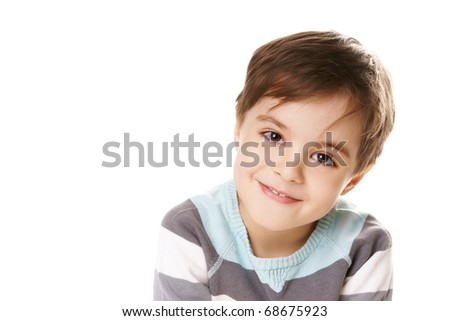 Portrait of cute smiling beautiful little boy isolated on white background - stock photo