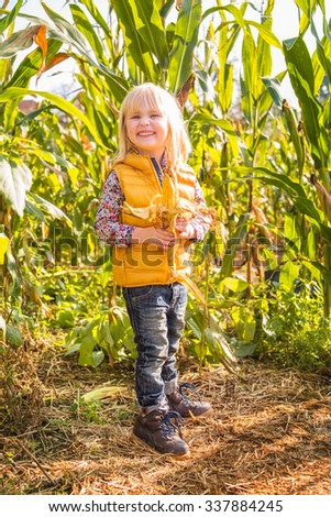 Portrait of cute smiling child staying in the corn field on farm on sunny autumn day - stock photo