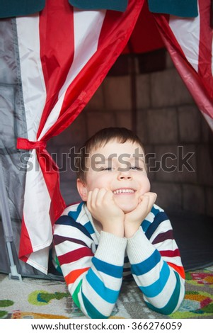 Portrait of cute smiling kid - stock photo