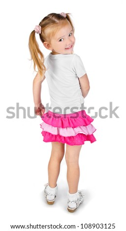 Portrait of cute smiling little girl isolated - stock photo