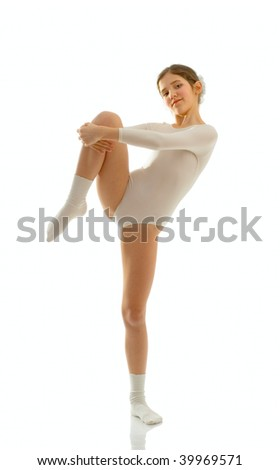 Portrait of cute teen ballet dancer girl isolated on white - stock photo