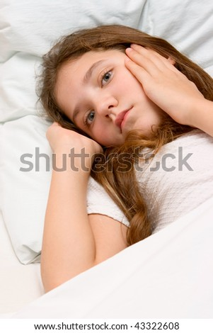 Portrait of cute teen girl - stock photo