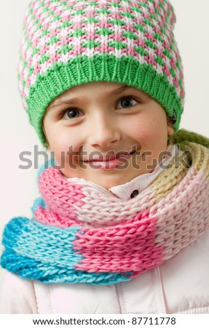 Portrait of cute winter girl - stock photo