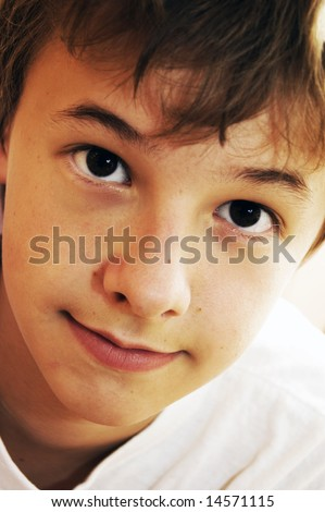 Portrait of cute young boy - stock photo
