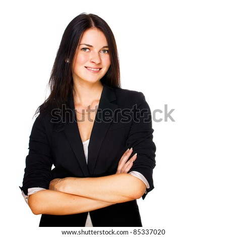 Portrait of cute young business woman smiling. Isolated on white - stock photo