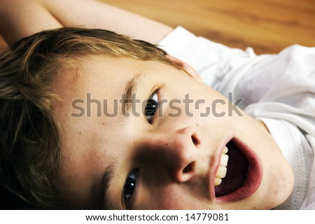 Portrait of cute young casuasian boy - stock photo