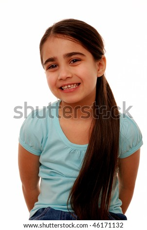 Portrait of cute young girl isolated on white