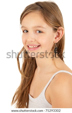 Portrait of cute young girl isolated on white background - stock photo