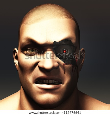 Portrait of cyborg of human appearance with skin removed to reveal glowing mechanical eye underneath - stock photo