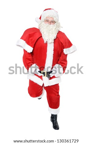 portrait of dancing santa clause - stock photo