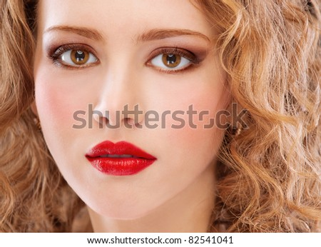 Portrait of darling girl in red dress. - stock photo