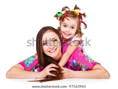 Portrait of daughter embracing mom, over white - stock photo