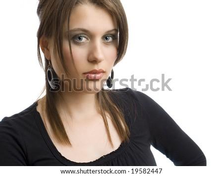 portrait of delicate woman - stock photo