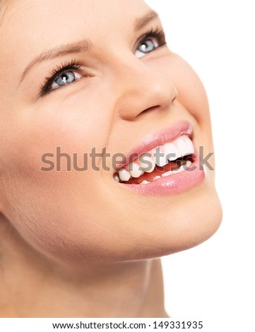 Portrait of dentistry female with perfect toothy smile. Dental or teeth care concept. Isolated on a white background.
