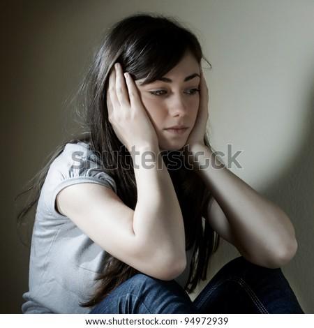Portrait of depressed teenage girl . - stock photo