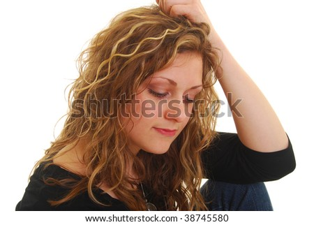 portrait of depressed  woman  isolated on white. - stock photo