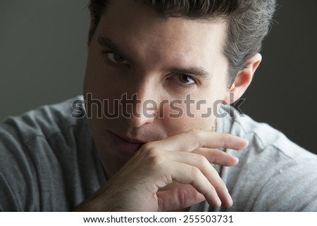 portrait of depressed young man