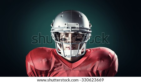 Portrait of determined sportsman against green background with vignette
