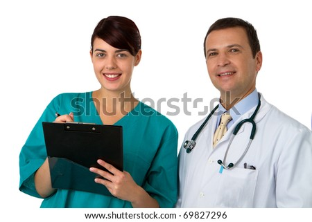 Portrait of doctor with young practitioner
