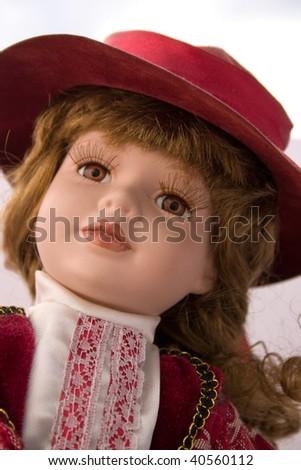 portrait of doll - stock photo