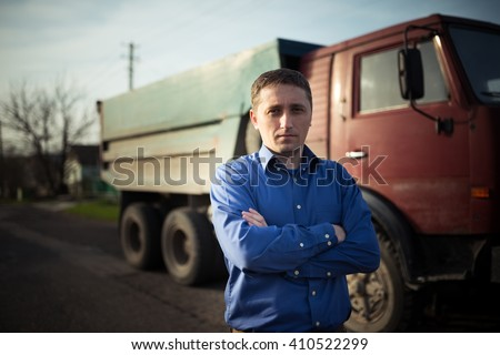 portrait of driver - stock photo