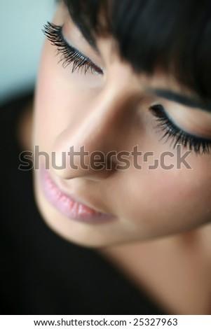 Portrait of east girl. Sharpness on eyelashes. - stock photo