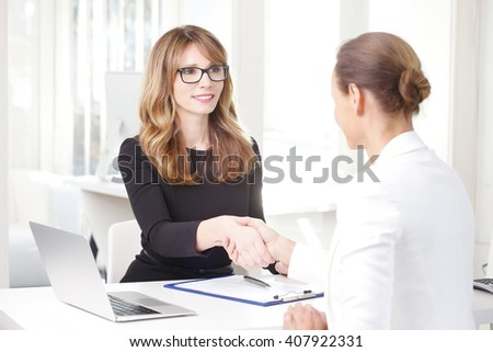 Portrait of efficient investment advisor woman making deal and shaking hands with her client  - stock photo