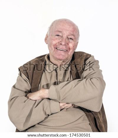portrait of elderly retired man isolated on white - stock photo