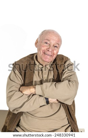portrait of elderly retired man isolated on white - stock photo