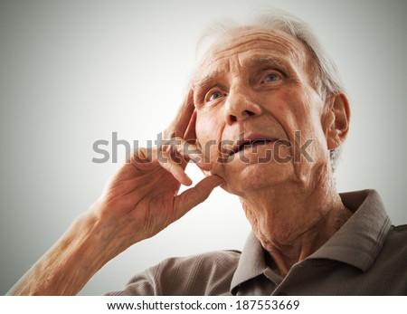 Portrait of elderly senior men - stock photo