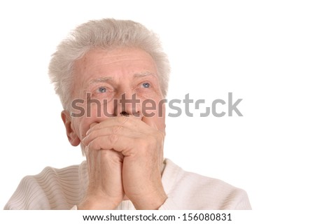 Portrait of elderly thinking man on white background