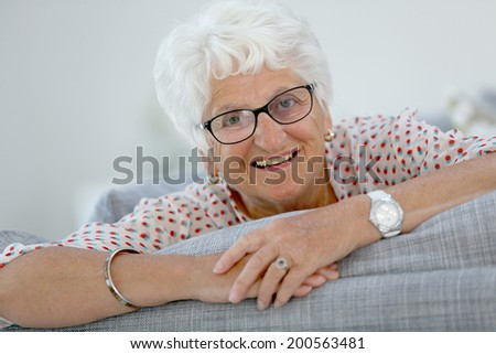 Portrait of elderly woman with white hair