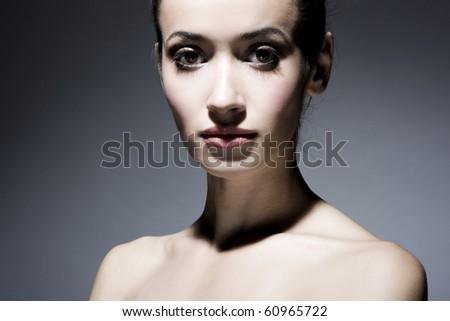 Portrait of elegant brunette woman - stock photo