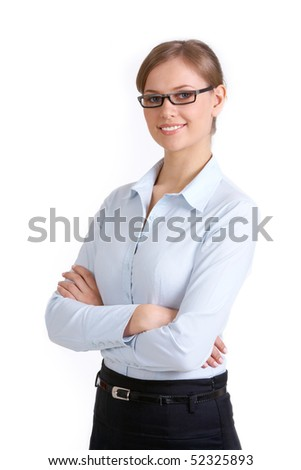 Portrait of elegant businesswoman with folded arms looking at camera - stock photo