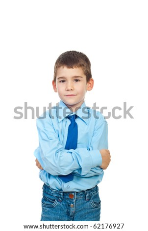 Portrait of elegant formal boy standing with hands crossed and smiling soft isolated on white background - stock photo