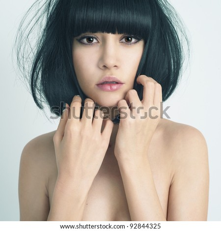 Portrait of elegant lady with stylish short hairstyle - stock photo