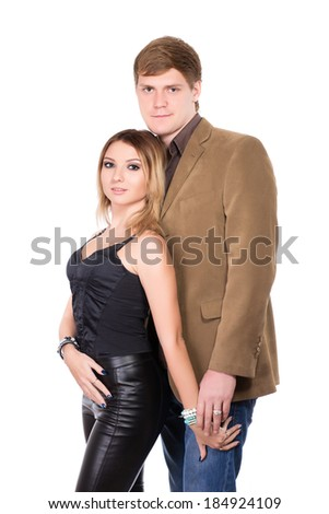 Portrait of elegant man and woman. Isolated on white - stock photo