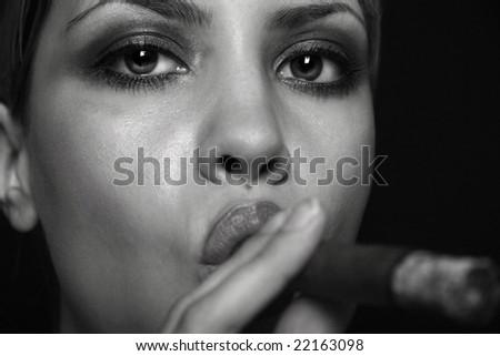 Portrait of elegant smoking woman. Fashion photo - stock photo