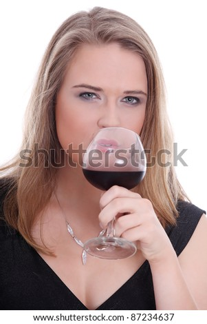 Portrait of elegant woman with glass red wine - stock photo