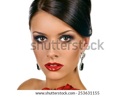 Portrait of elegant woman with red lips on white background - stock photo