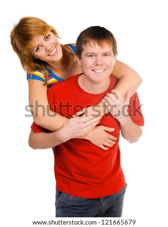 Portrait of embracing happy smiling couple on a white background