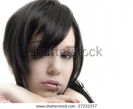 portrait of emo girl closeup beauty face - stock photo