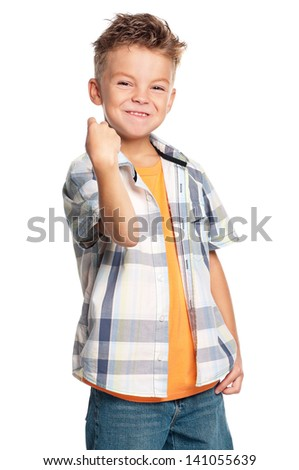 Portrait of emotional boy isolated on white background - stock photo