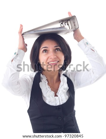 Portrait of emotional business woman with folders - stock photo