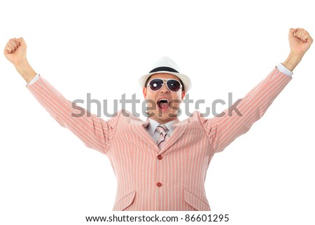 Portrait of emotional businessman. Isolated over white background.